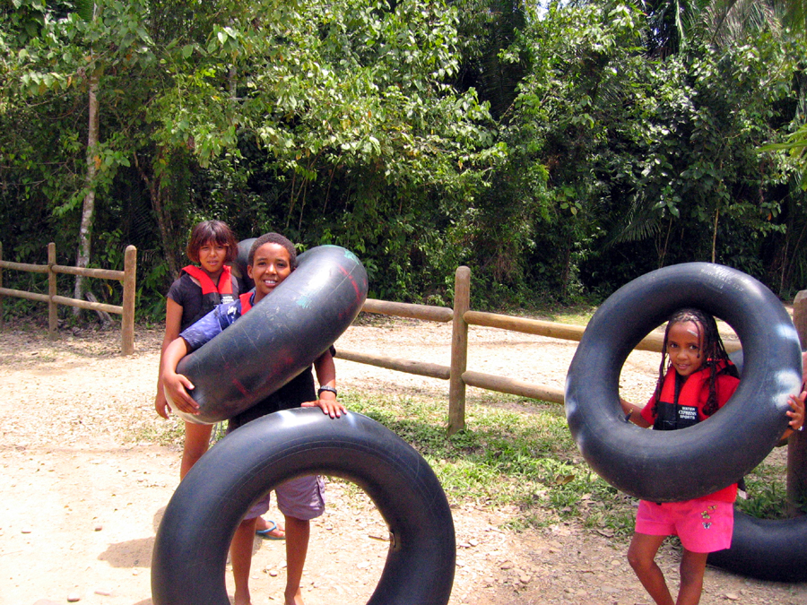 Belize cave tubing for young children