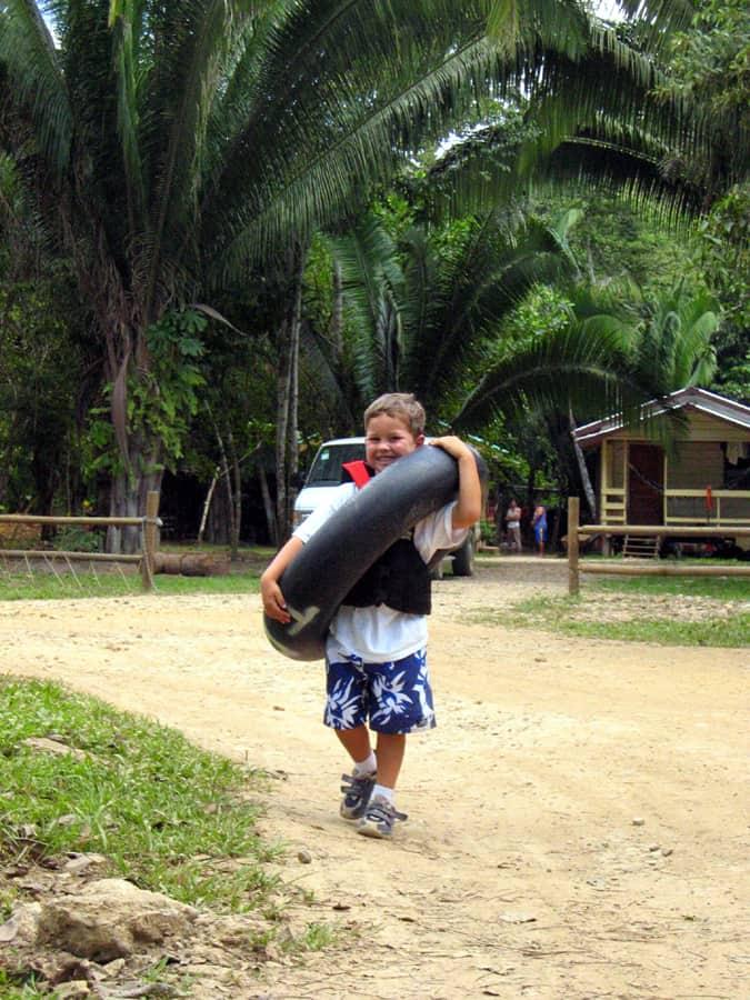 Belize kids tubing