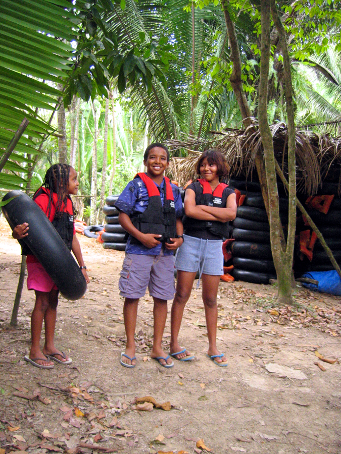 Family cave tubing in belize