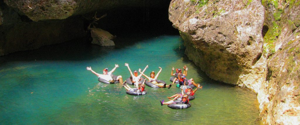 belize cave tubing group fun